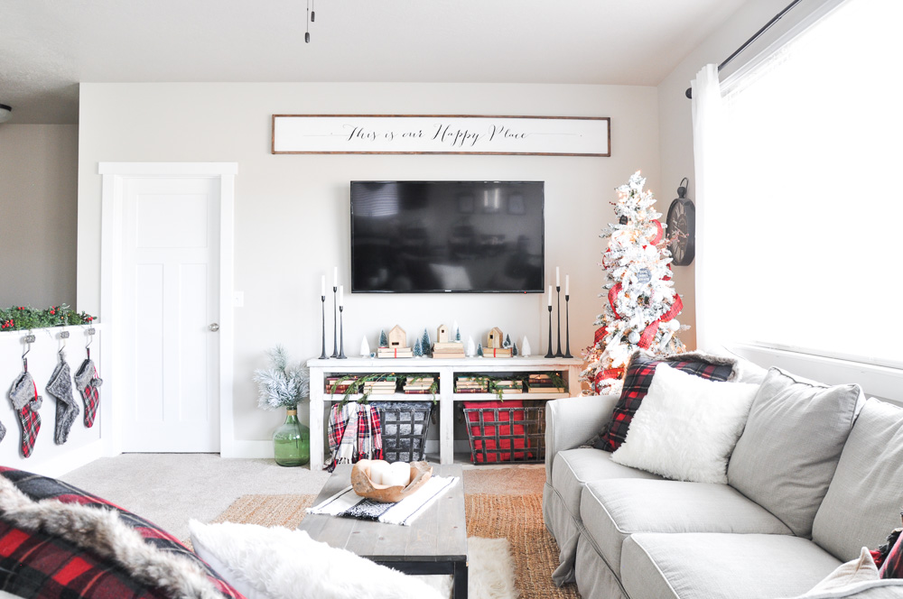 Simple Christmas Living Room Home Tour - Cherished Bliss