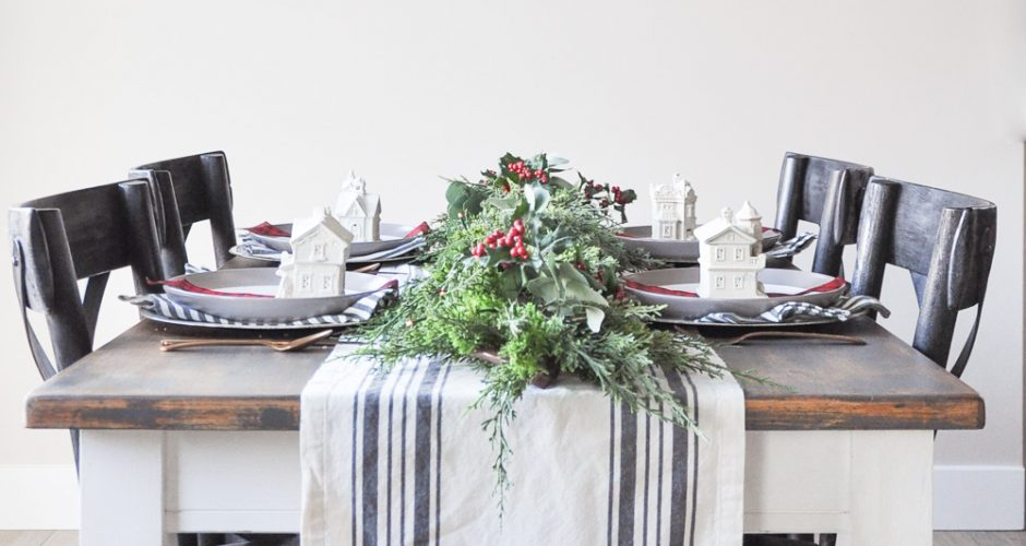 Christmas Village Holiday Tablescape