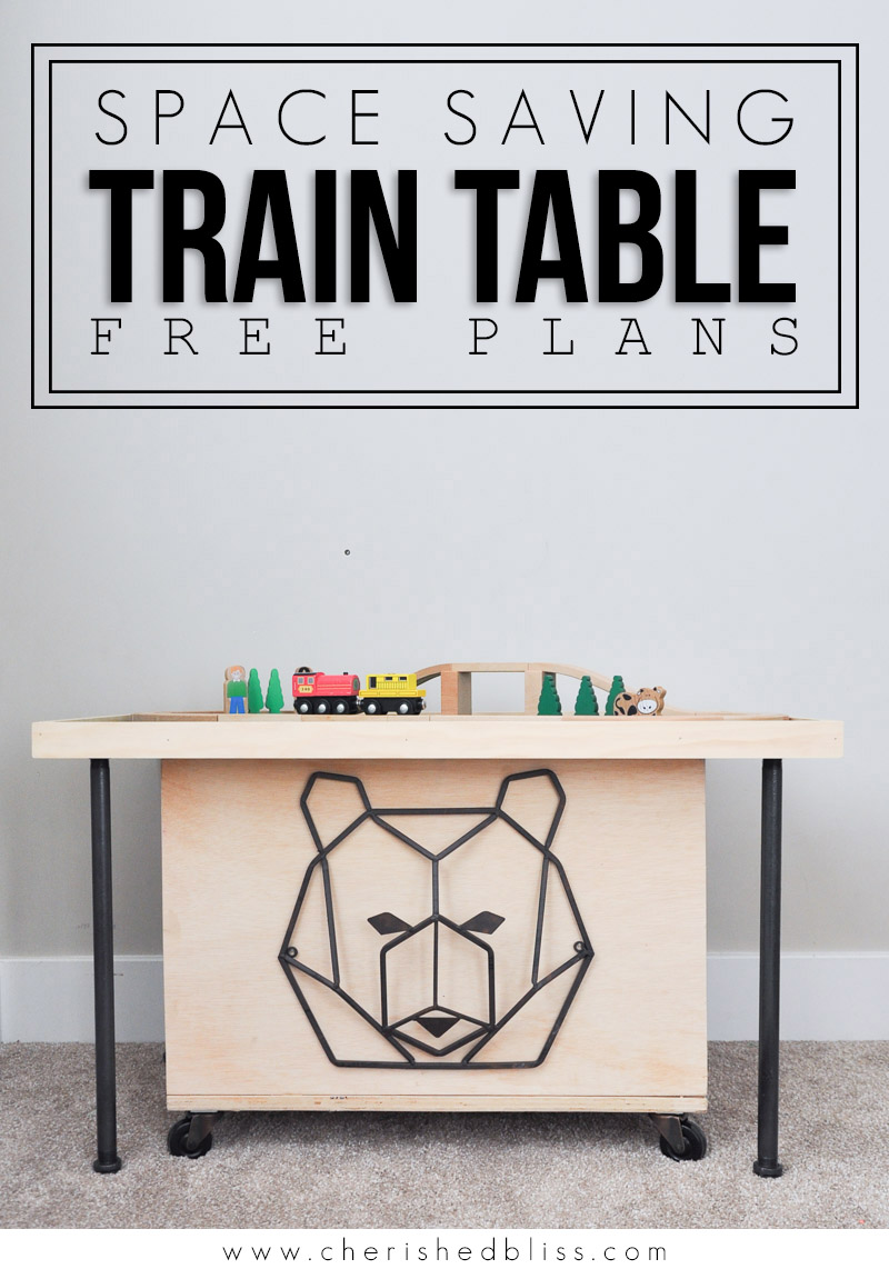 DIY Train Table -- Do your kids love train tables but you don't have the space? This smaller, easily stored Space Saving DIY Train Table is the perfect solution!