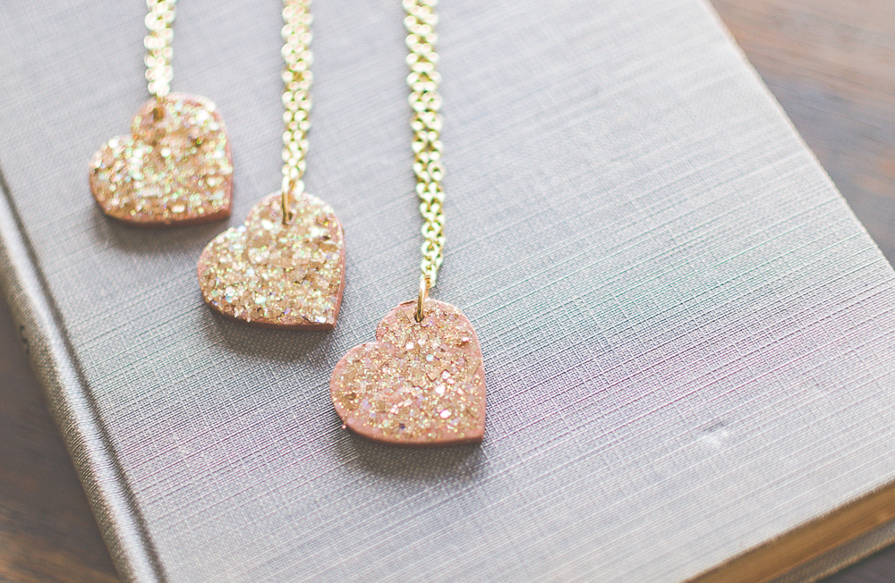 DIY Glitter Heart Necklace Tutorial - Cherished Bliss