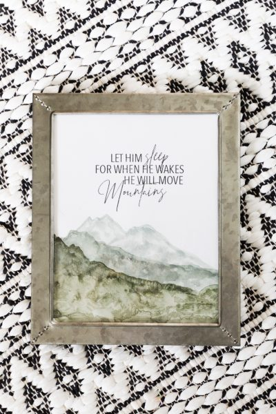 Learn how to create this adorable artwork for your boys room using this Mountain Watercolor Tutorial combined with this adorable printable quote.