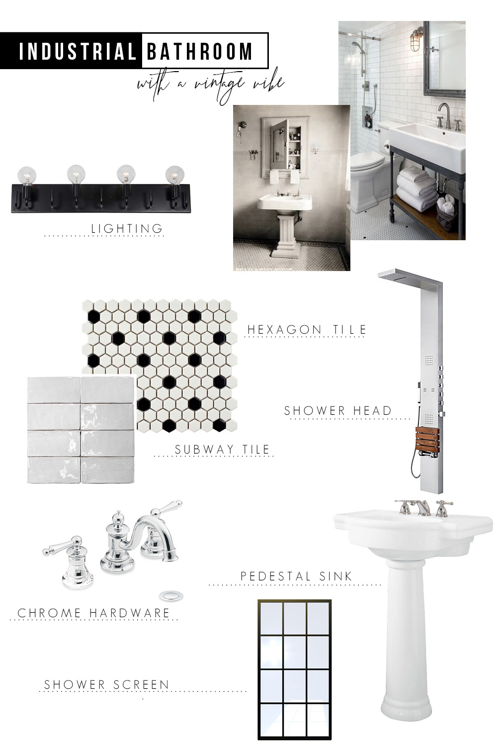 Industrial Bathroom Design Plans + Vintage Vibe - Cherished Bliss