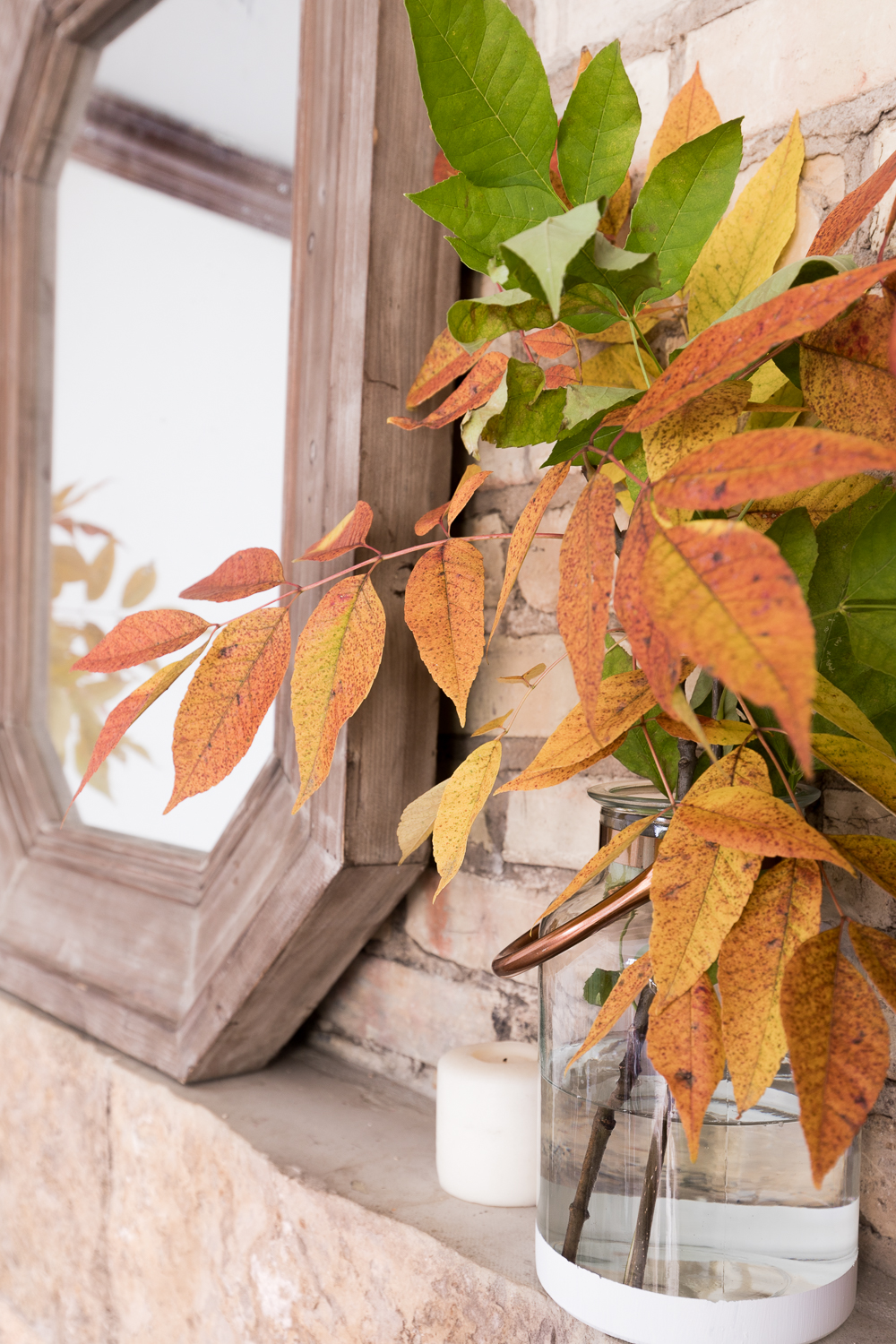 Pretty leaves for a natural Fall Mantel