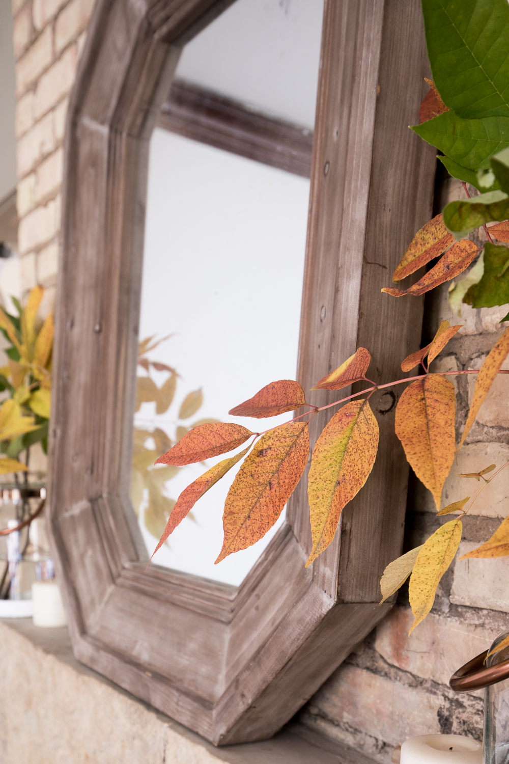 Use nature to create a natural Fall Mantel on a budget