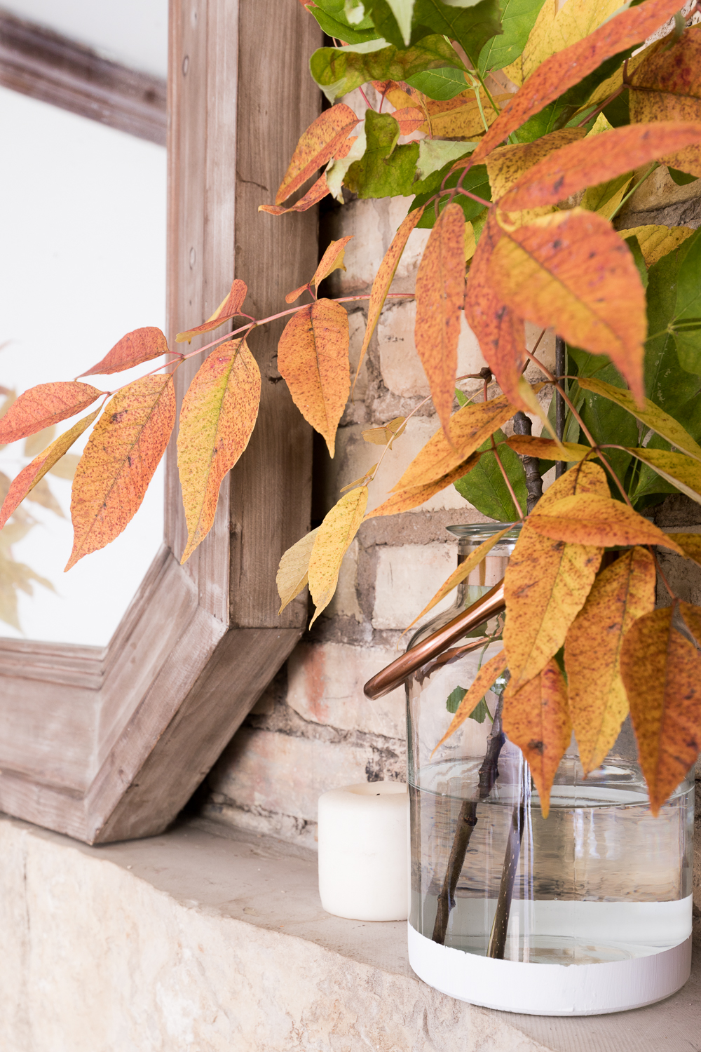 Simple and affordable natural Fall mantel