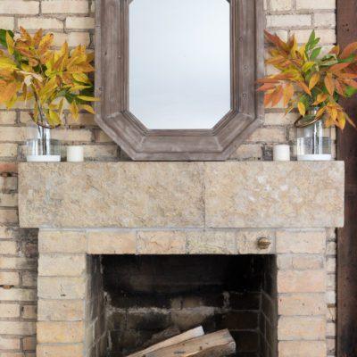 Natural Fall Mantel + a Simple Craft