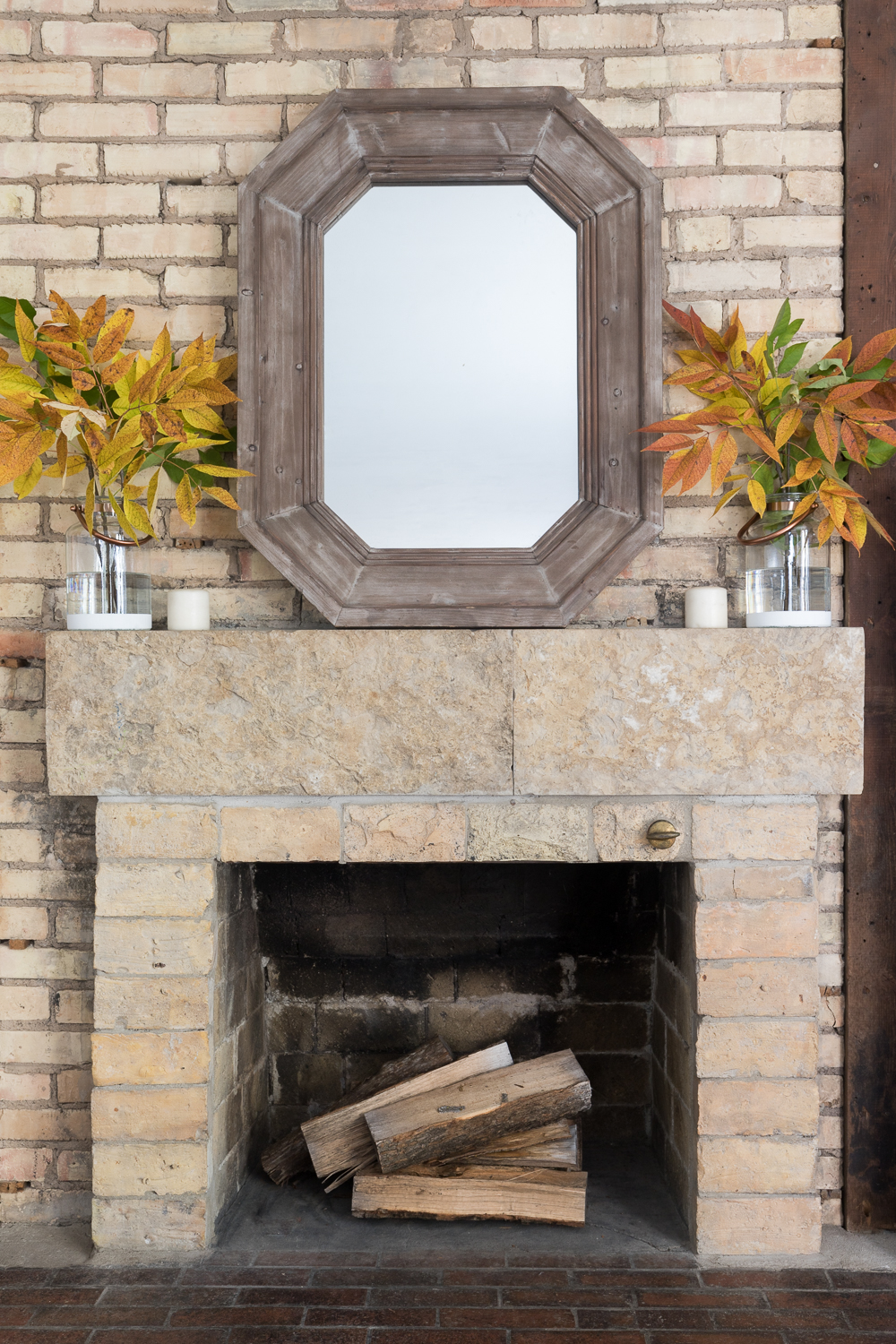 With a simple craft project and clippings from nature you can create this easy, natural fall mantel to compliment your decor!
