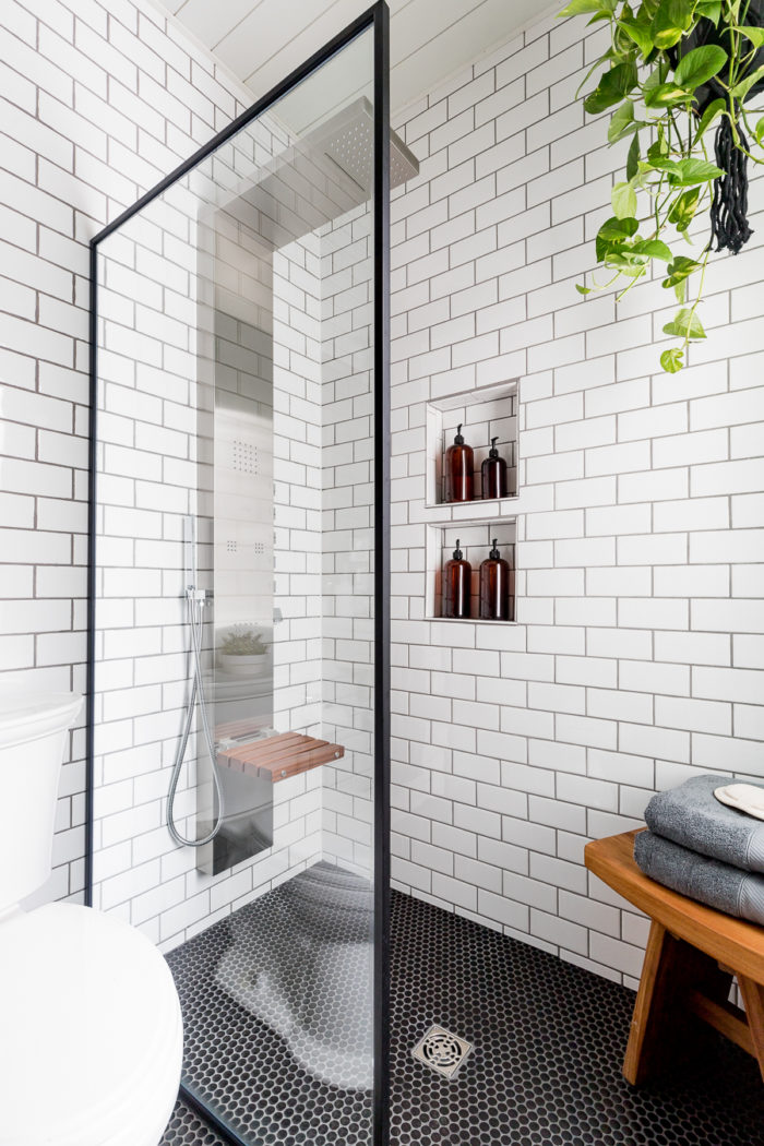 Install this luxury spa style shower head without needing to add plumbing. Looks perfect in this industrial bathroom!