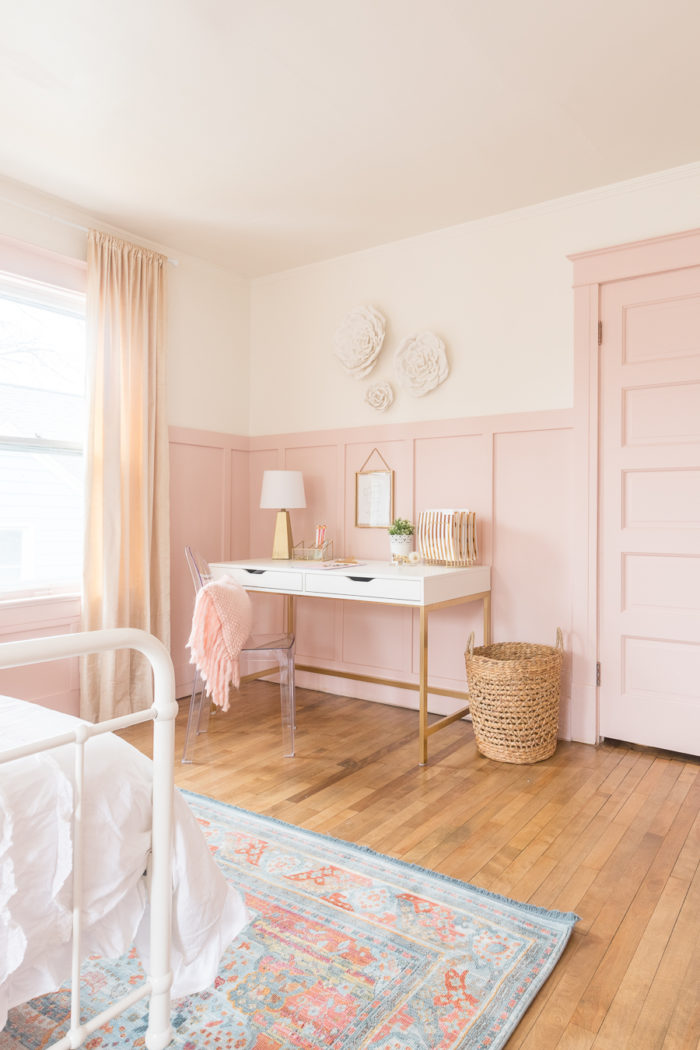 functional desk space in girls Pink and Gold Bedroom
