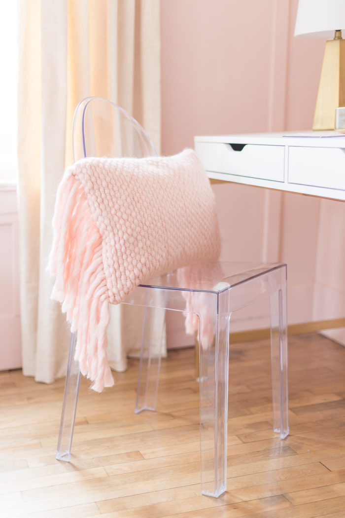 ghost chair in pink and gold girls bedroom