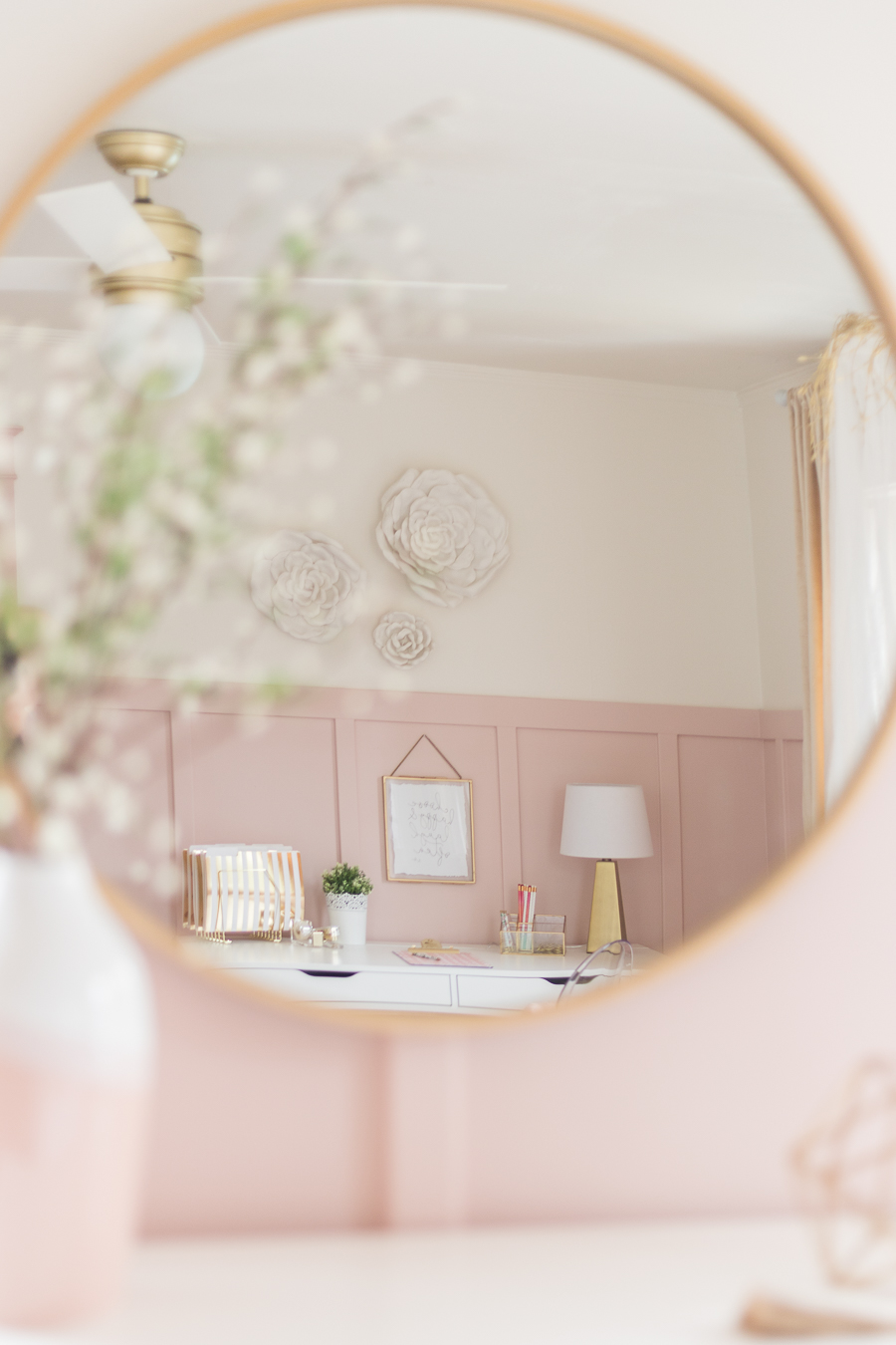 A beautiful dusty Pink and Gold Girls Bedroom with a modern yet delicate touch, fun seating, and functional desk space perfect for all ages!