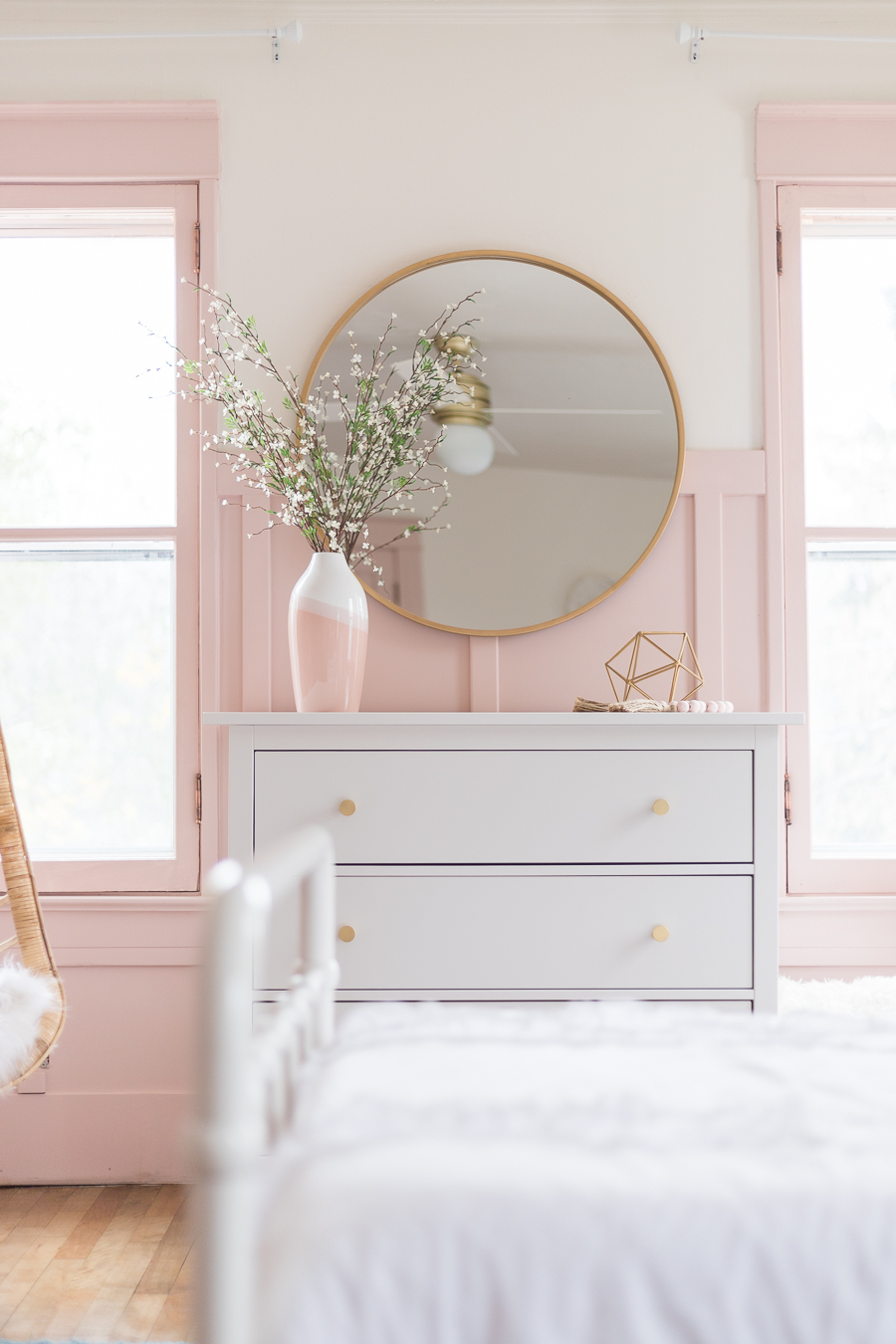 Gold Round Mirror Pink and Gold Bedroom