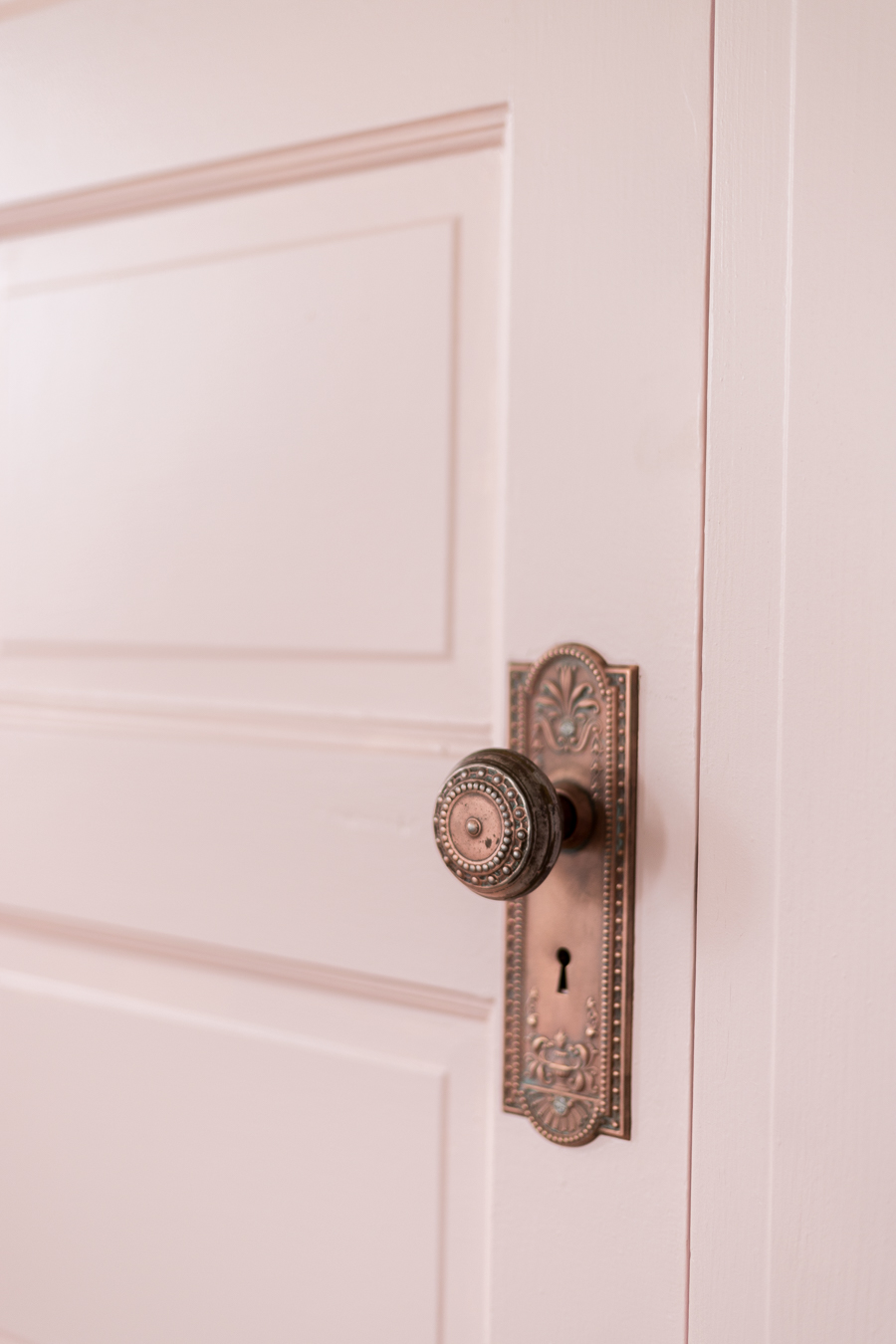 Pink door and Trim with vintage hardware