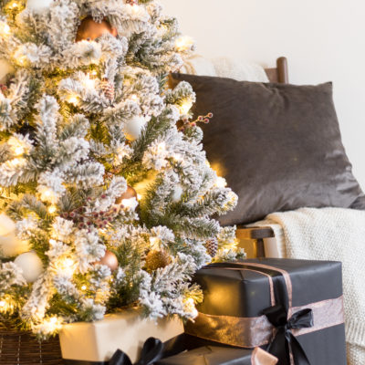 White and Copper Christmas Tree Decor