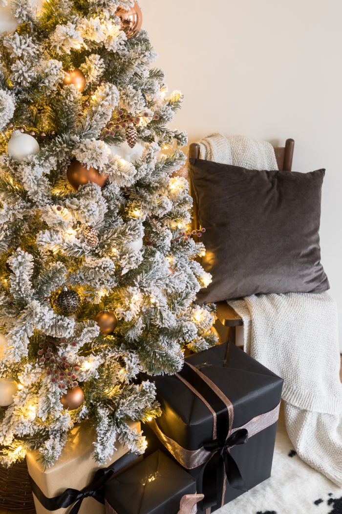 This Flocked White and Copper Christmas Tree brings coziness into any  space! Learn how to - White And Copper Christmas Tree Decor - Cherished Bliss