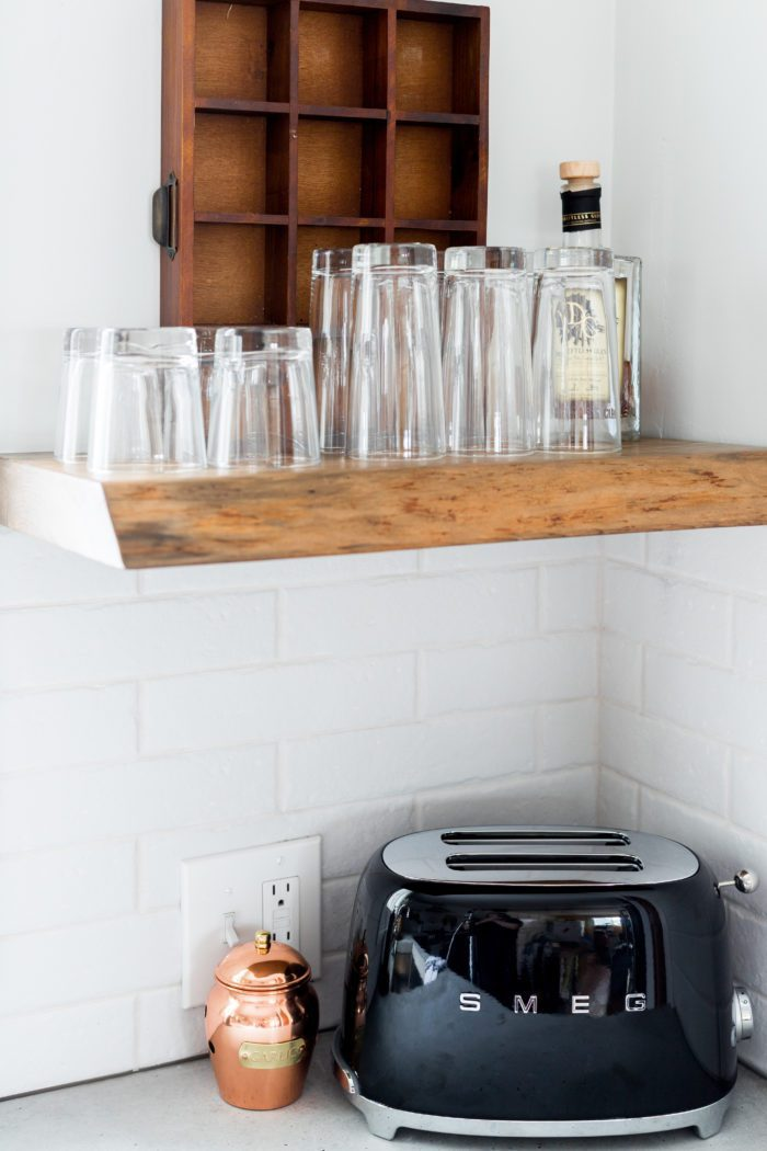 live edge shelves in kitchen