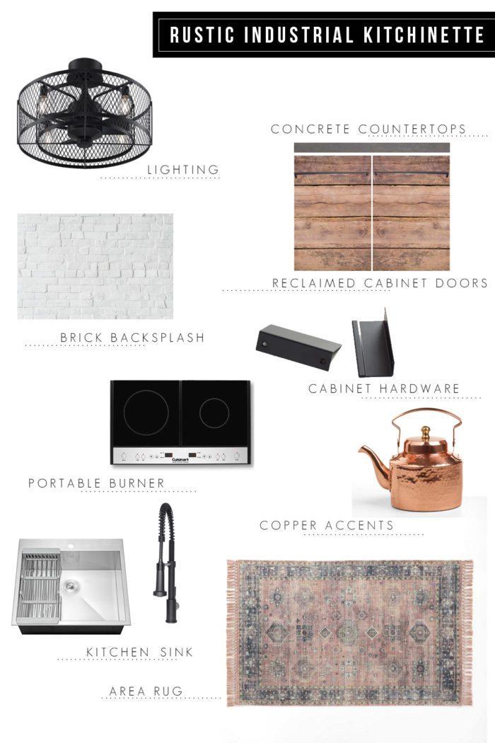 Rustic Industrial Kitchenette Design Board | One Room Challenge Week 1