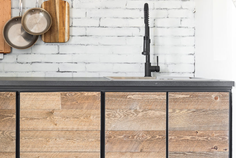 Inspired by a coffee shop you can build your own Rustic Industrial Cabinet Doors with this tutorial for custom made doors you can't buy in a store!