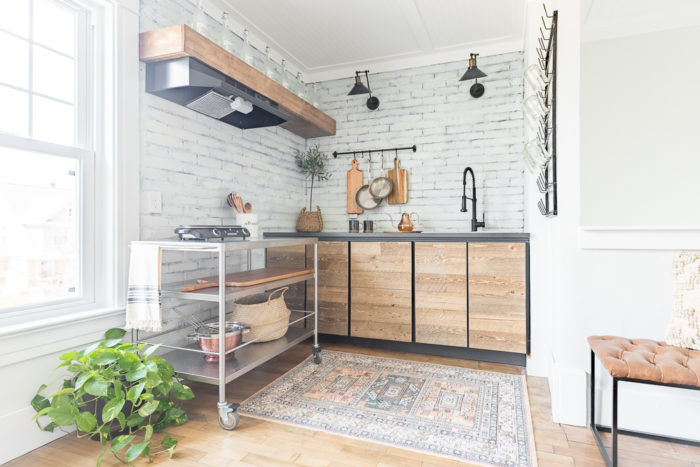 Create a cozy kitchenette that looks and feels like a coffee shop.