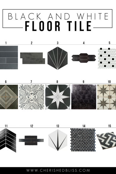 15 amazing options for black and white bathroom floor tile.
