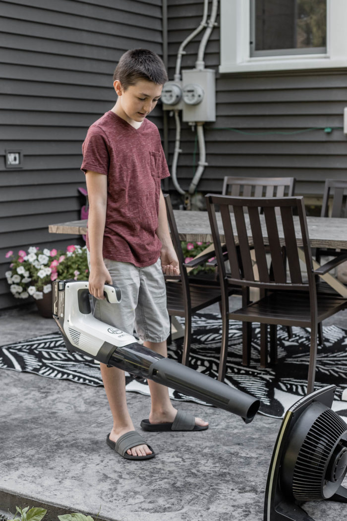 Use a Cordless Blower to dust fans.