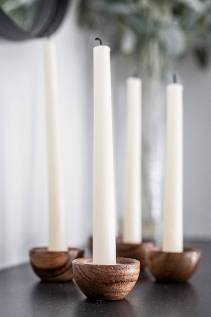 Mini Wooden Bowl Candle Holders with tall candles