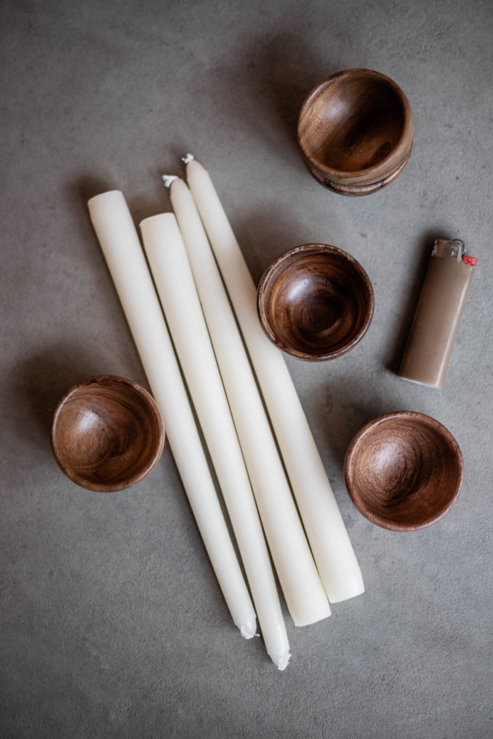 Supplies to create beautiful wooden bowl candles for a tablescape or display.