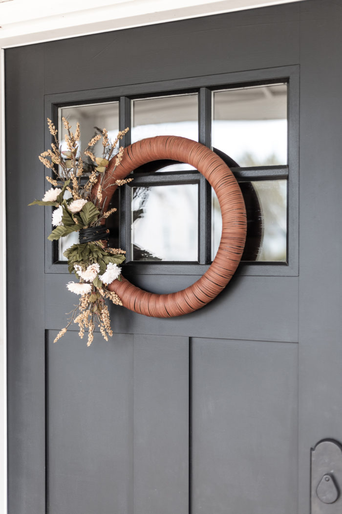 Modern Wreath made out of leather.