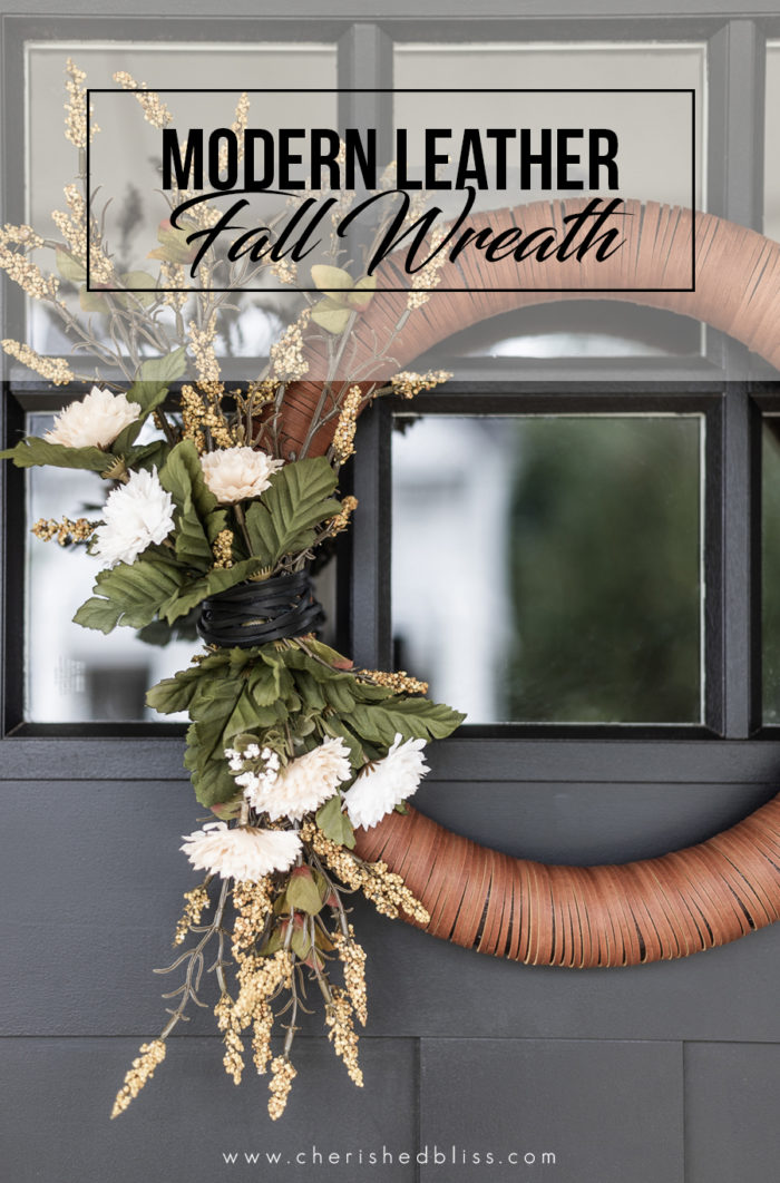 Modern Leather Wreath for Fall.