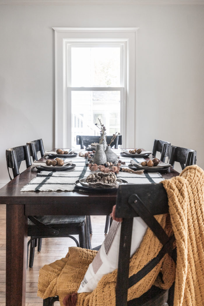 Fall Tablescape with a scarf and modern natural Fall elements