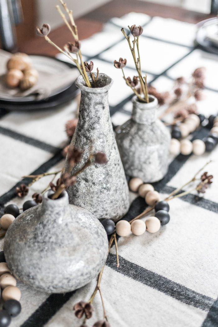 gray bud vases
