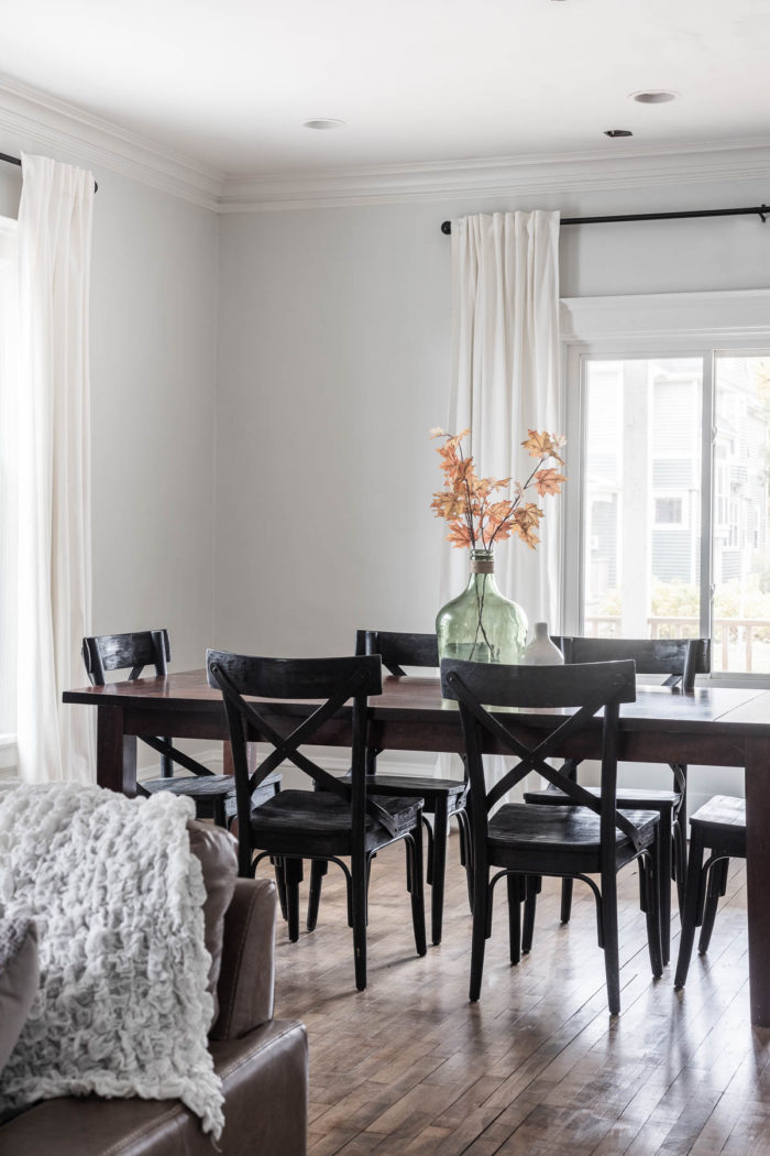 Ikea White Curtains in a dining Room