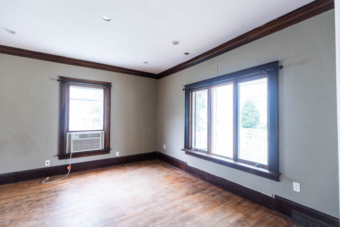 Before photo of a dining room in a historical home built in 1865.