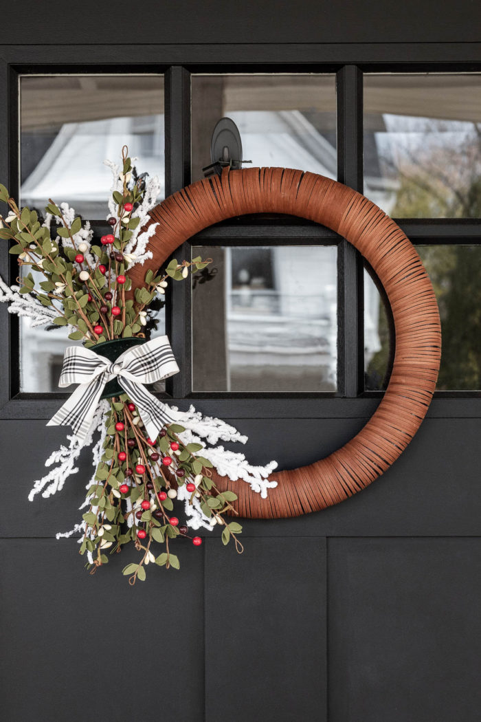 Modern Christmas Wreath on Black Door, neutral decor.