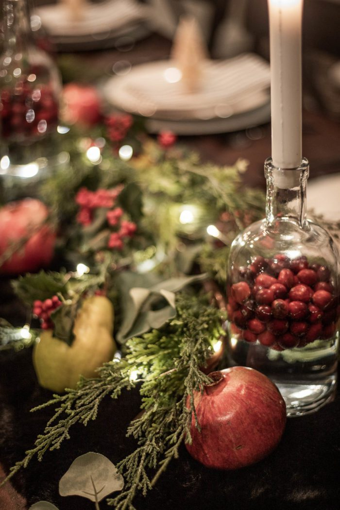 Use fresh pomegranates and pears in Christmas Tablescape.
