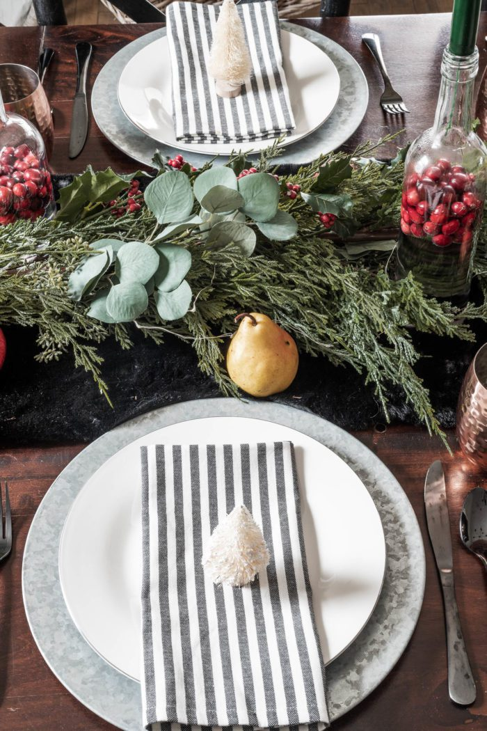 Galvanized Charger Plate pairs well with white plate for use in Christmas Tablescape.