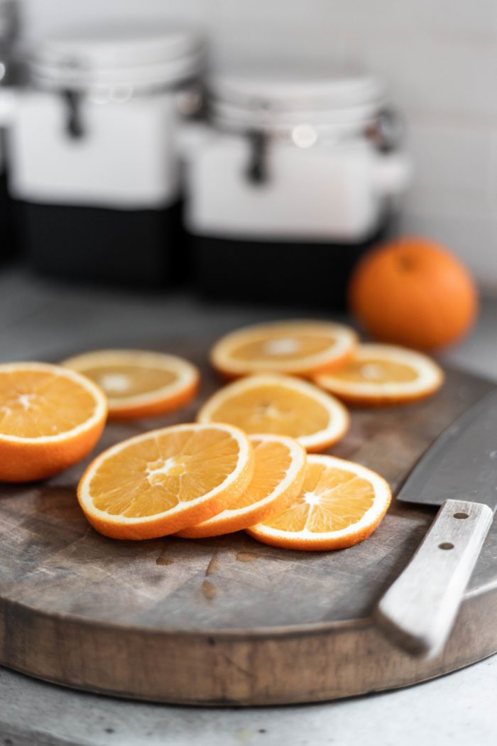 Sliced Oranges to prepare for dried fruit potpourri