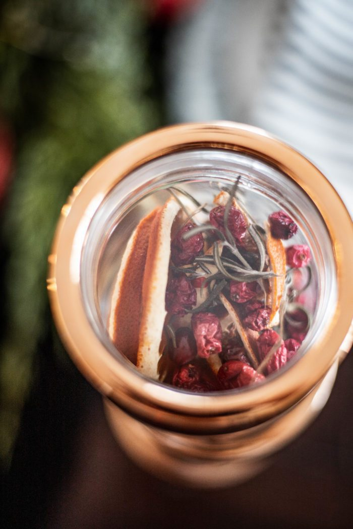 Homemade Christmas Potpourri in a jar.