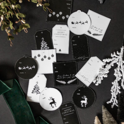 Black & White Modern Christmas Gift Tags Printable