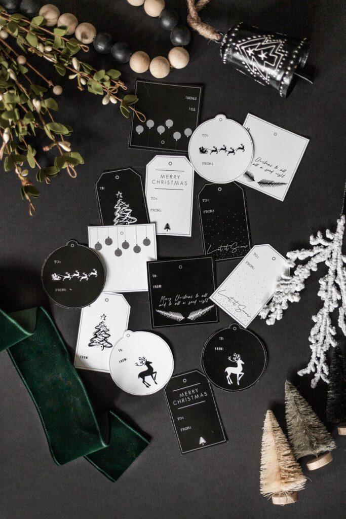 Black White Modern Christmas Gift Tags Printable Cherished Bliss
