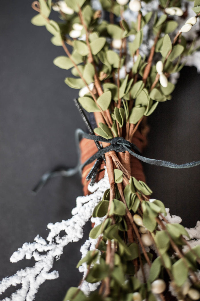 Christmas Floral Stems placed on wreath