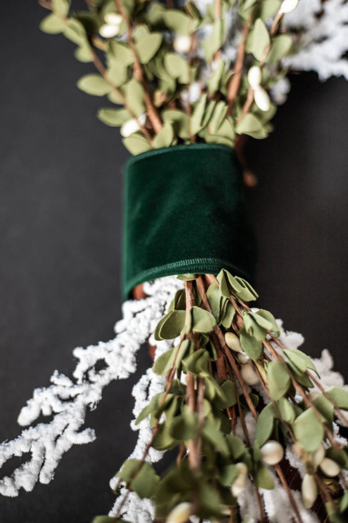 emerald green velvet ribbon on Christmas Wreath