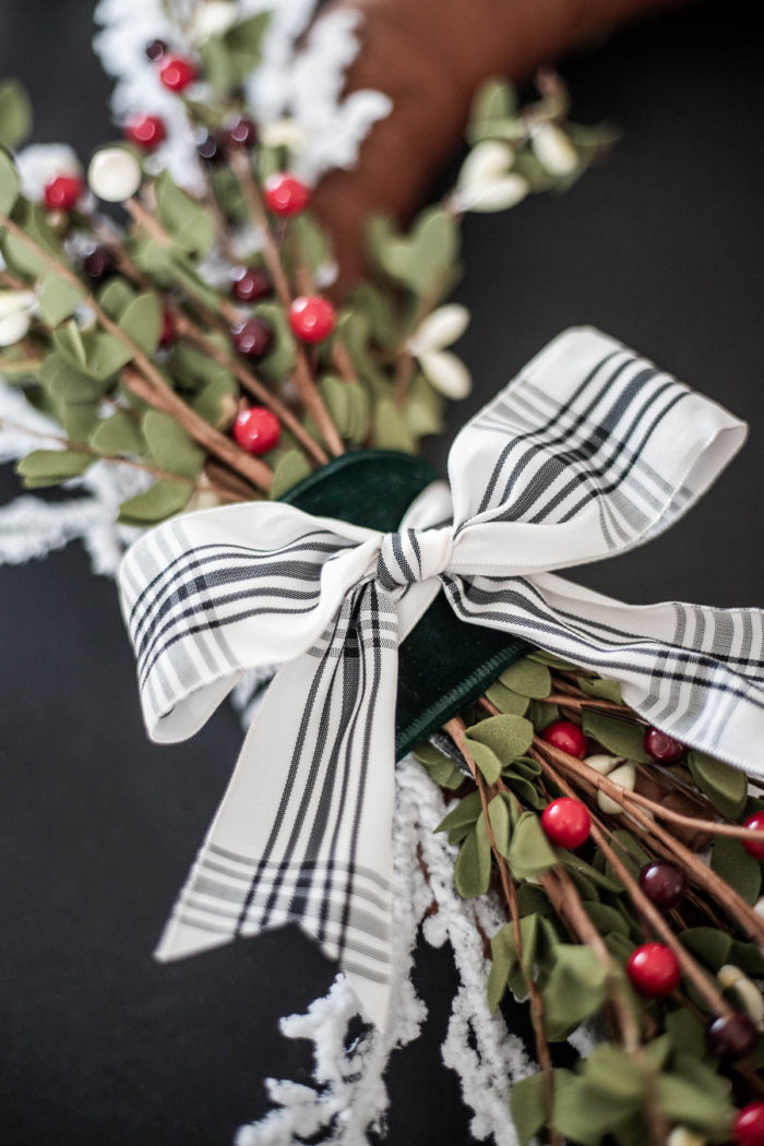 Black and White Ribbon Christmas Wreath.