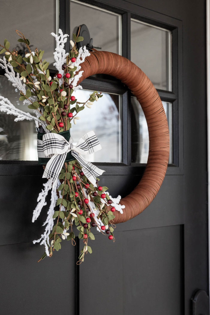 Modern Christmas Wreathing hanging on Black Door - Winter Wreath