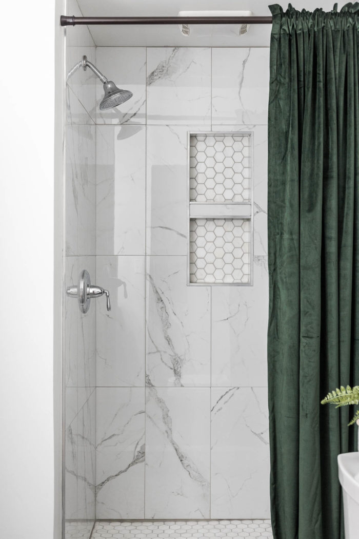 marble shower tile with hexagon shower floor