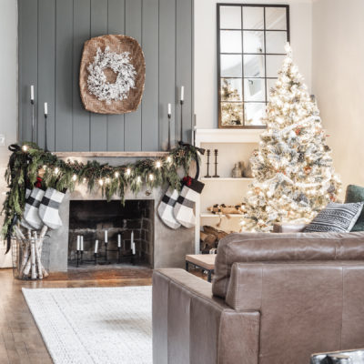 Simple Christmas Mantel with Fresh Garland