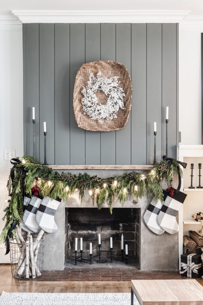 Simple Christmas Mantel Decor with Fresh Garland.
