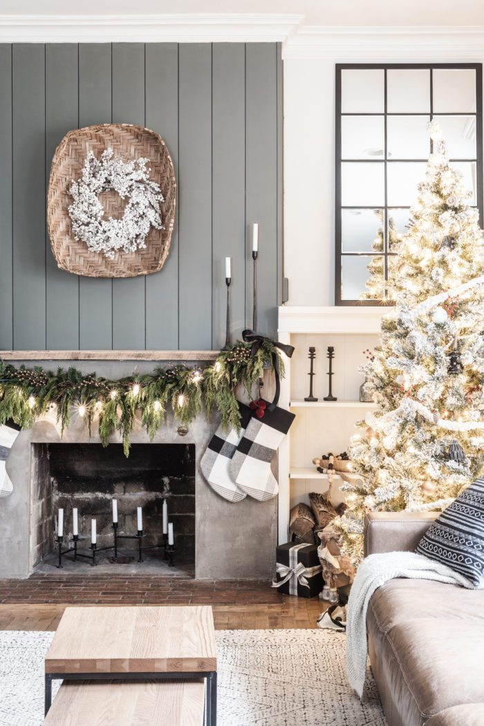 Concrete Fireplace | Simple Christmas Mantel with Fresh Greenery