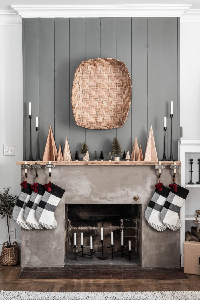 Early Christmas Mantel with Nordic Wooden Trees