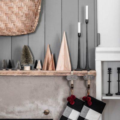 Modern Rustic Christmas Mantel